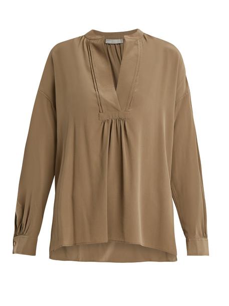 VINCE Long-sleeved sandwashed silk-crepe blouse in khaki