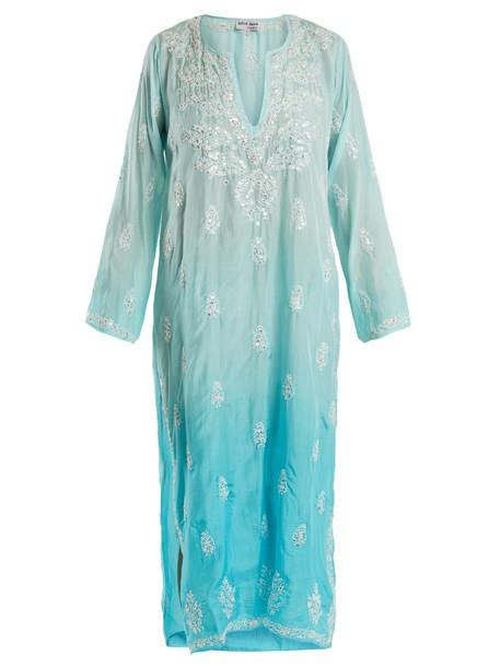 Juliet Dunn shirtdress embroidered floral silk blue dress