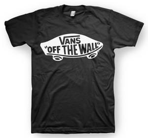 White vans off the wall t shirt black logo