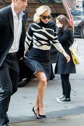 skirt,jennifer lawrence,sweater,top,black and white,pumps,sunglasses