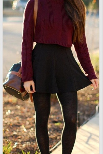 shirt burgundy sweater cropped sweater
