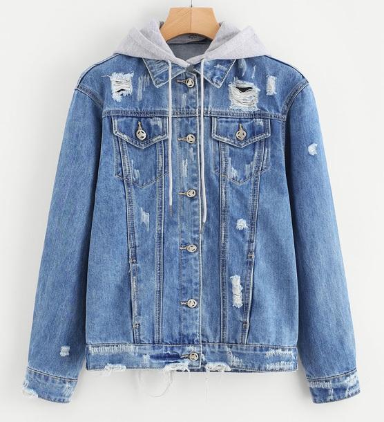jacket girly denim denim jacket hoodie ripped