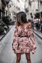 dress,tumblr,floral,floral dress,mini dress,pink dress,long sleeves,long sleeve dress,off the shoulder,off the shoulder dress,belt