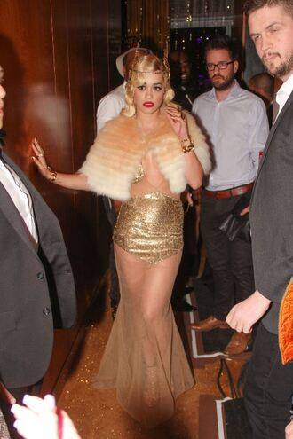 fur rita ora new year's eve hair accessories gold gown