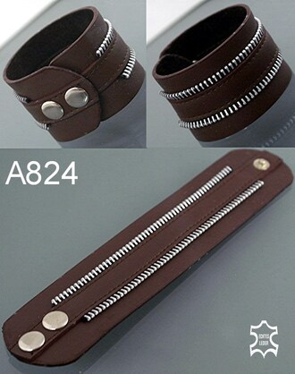 home accessory brown bracelets leather zip