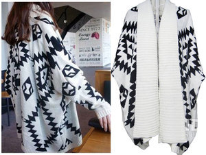 Womens Aztec Oversized Open Front Loose Sweater Jacket Wrap Cape Cardigan Coat-in Cardigans from Apparel & Accessories on Aliexpress.com