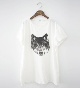 t-shirt wolf black and white girl boy shirt