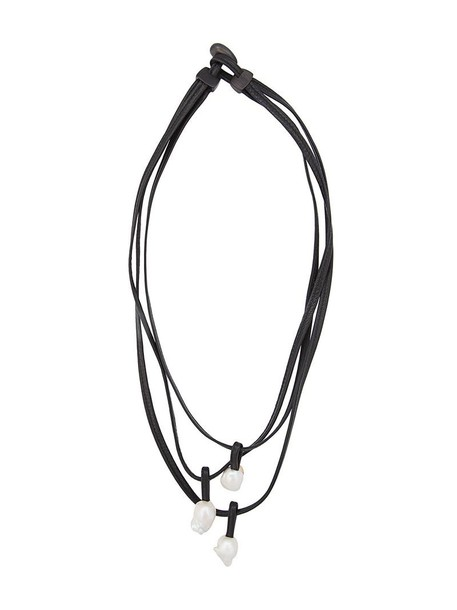 women necklace pendant leather black jewels
