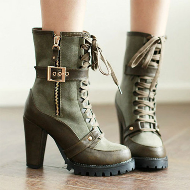 shoes boot retro pure color high heel