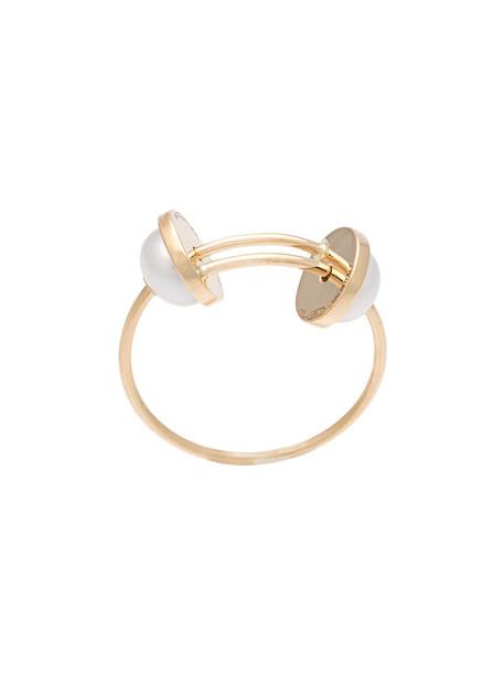 women pearl ring gold grey metallic jewels