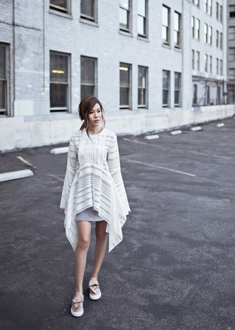 tsangtastic blogger white top high low button up skirt bell sleeves cute outfits outfit idea bell sleeve top