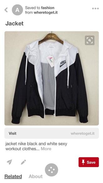 jacket black and white grey cute nike tumblr windbreaker nike windrunner