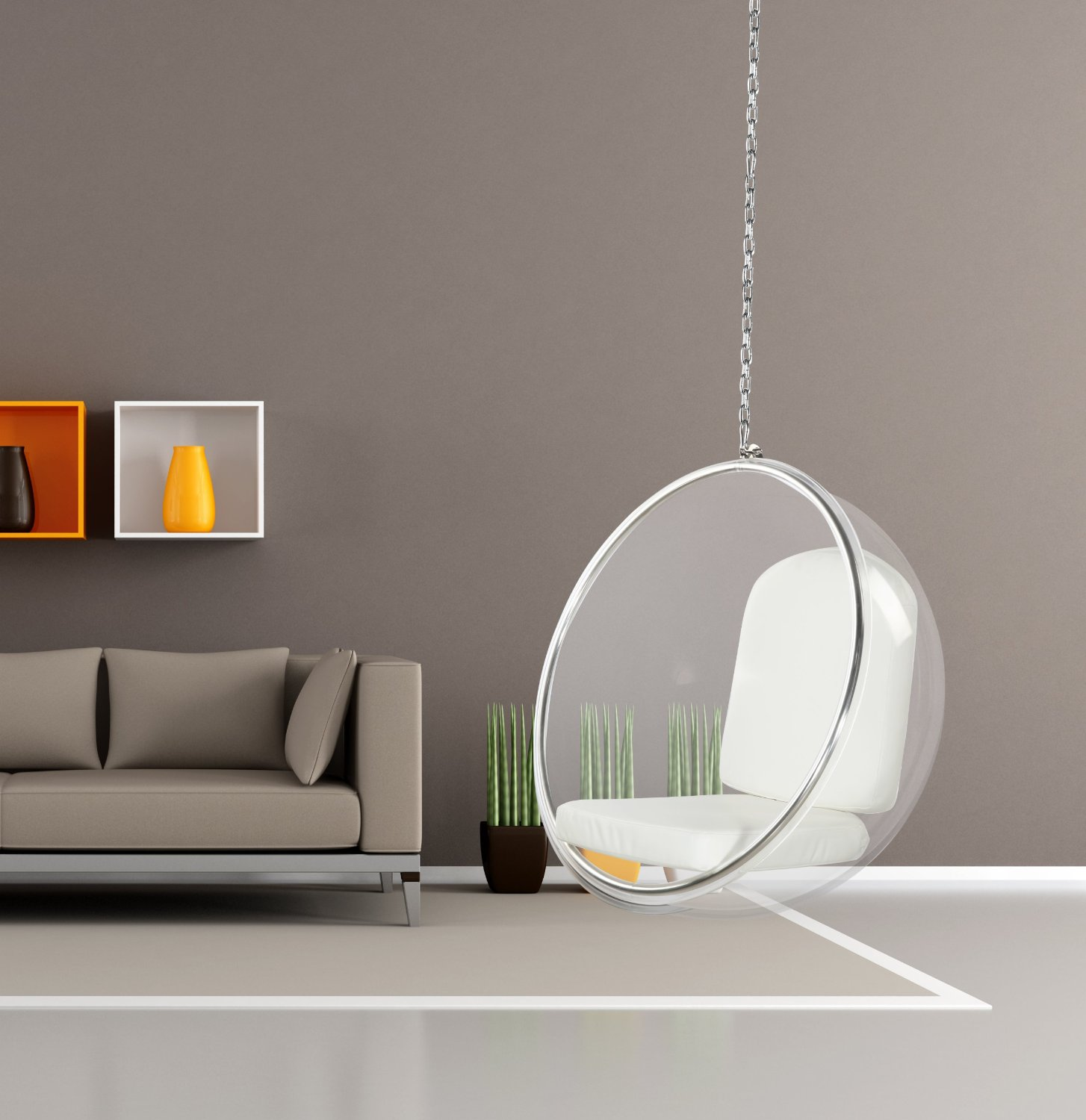 Eero Aarnio Bubble Chair With White Seat Cushion Hanging Chair