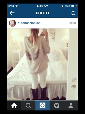 jacket sweater wings style fall outfits white sweater