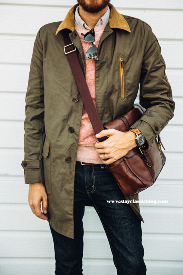 stay classic blogger jacket bag jewels jeans sunglasses menswear trench coat