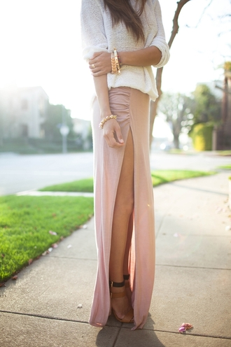 maxi skirt blouse song of style sweater skirt shoes long skirt slits slit skirt sexy maxi skirt pink long skirt and fashion