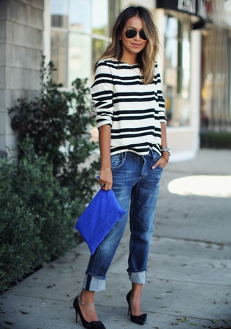 sincerely jules blogger jeans top jewels bag stripes