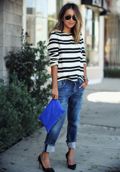 sincerely jules bag blogger jewels jeans top stripes