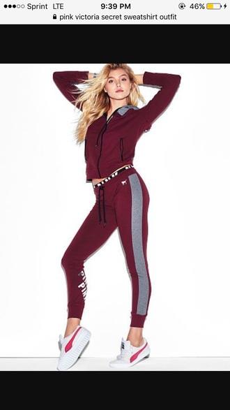 jumpsuit pink by victorias secret burgundy tracksuit sweatpants joggers