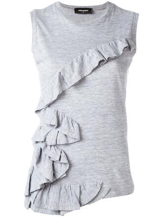tank top top women cotton grey