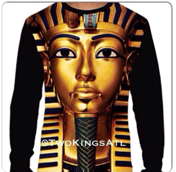 gold shirt sweater long sleeve king tut