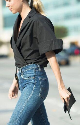 top wrap top black top jeans blue jeans