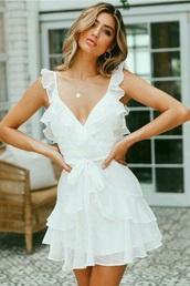 dress,white,white dress,mini dress,summer,summer outfits,summer dress,spring,sleeveless dress,sleeveless,ruffle,ruffle dress,v neck,v neck dress,plunge v neck,bow