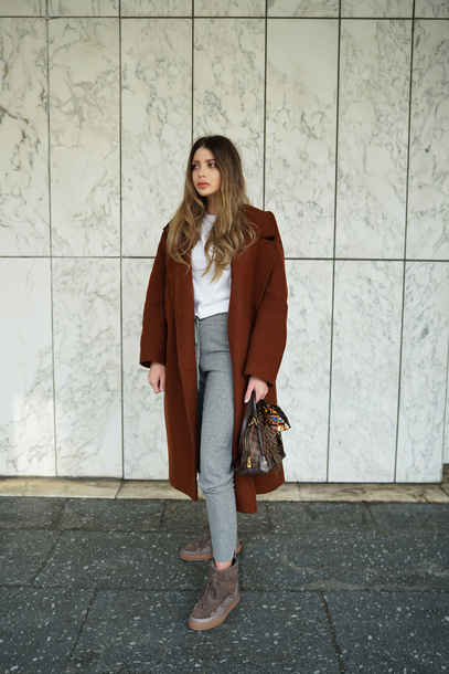 coat tumblr oversized coat brown coat top white top pants grey pants joggers boots grey boots winter boots