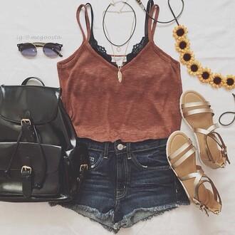 bag lookbook store tank top top shorts jeans style black top bralette bra festival vans warped tour