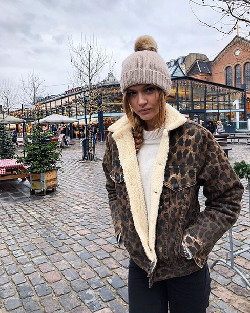 coat josephine skriver leopard print