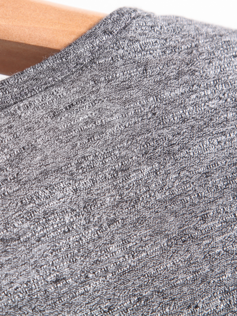 Grey V Neck Short Sleeve Pocket Loose T-Shirt - Sheinside.com