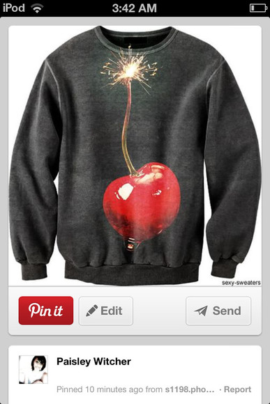 cherry sweater black