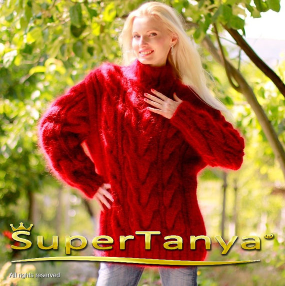 Thick hand knitted red mohair sweater with cables by by supertanya