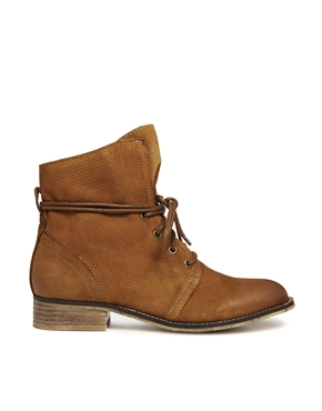 ALDO | ALDO Perforated Tan Lace Ankle Boots at ASOS