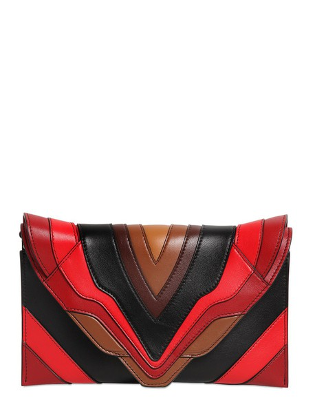 leather clutch clutch leather black red bag