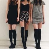 skirt,all 3 skirts,cute skirt,plaid skirt,grunge,grunge wishlist,jumpsuit,gray skirt,grey skirt,black crop top.,black top,crop tops,halter dress,t-shirt dress,black dress,black tshirt dress,black socks,over the knee socks,over the knee,alternative,tumblr,cute,stylish,style,trendy,outfit idea,fashion inspo,chill,rad,casual,on point clothing,socks,dress,tank top,jacket,shorts,checkered,checkered skirt,black,plaid,black crop top,tumblr outfit,tumblr girl,tumblr clothes,all black everything
