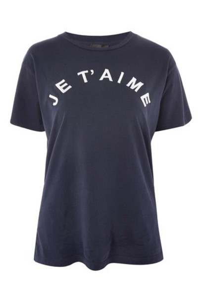 Topshop t-shirt shirt t-shirt embroidered navy blue top