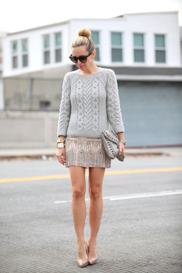 brooklyn blonde skirt sweater shoes bag jewels