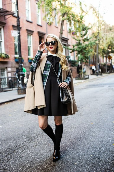 atlantic pacific blogger sunglasses top jacket bag socks tartan cape fall outfits little black dress knee high socks