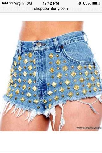 shorts studded shorts high waisted shorts denim