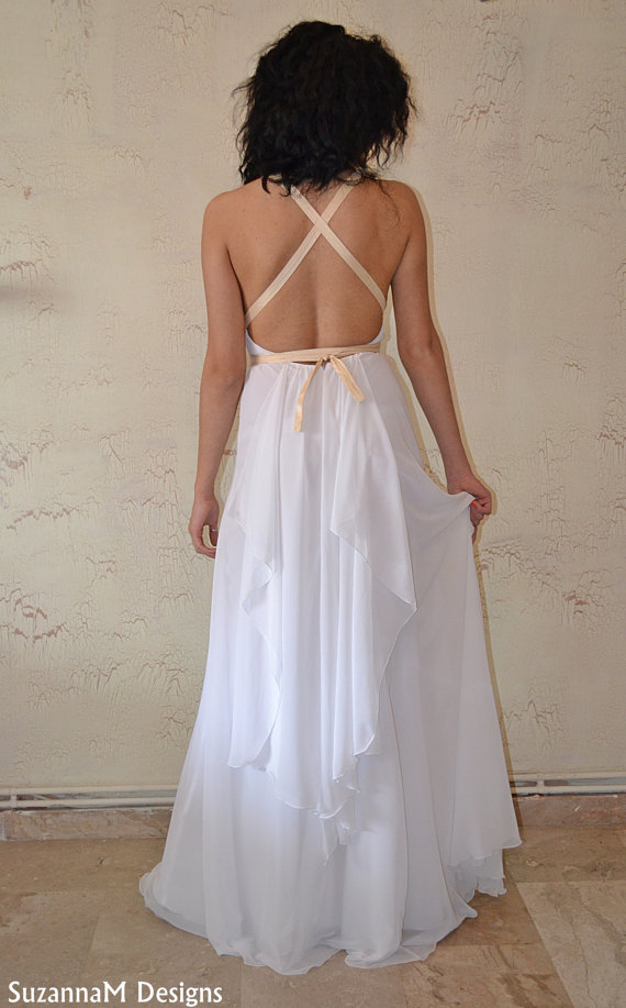 White silk chiffon maxi sexy / gown / wedding by suzannamdesigns