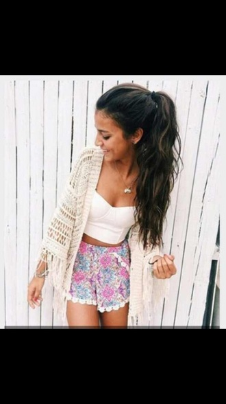 shorts summer cardigan white top top