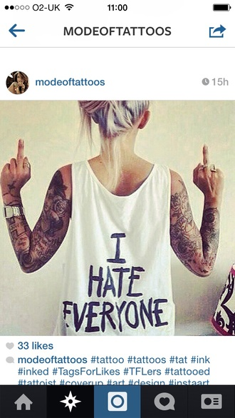 t-shirt white i hate everyone cool