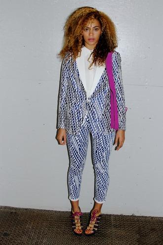 jacket beyonce blouse blue pattern pants natural hair printed pants tailoring