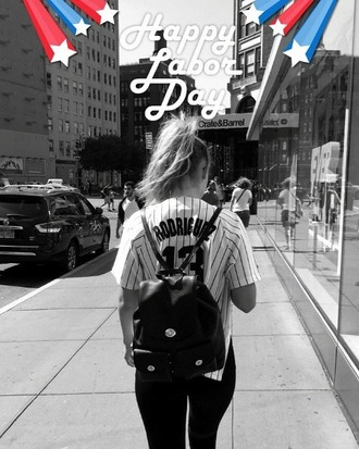 bag school bag gigi hadid model style fashion accessories backpack black bag yankees new york city