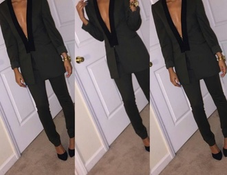 jumpsuit green jacket black heels women's