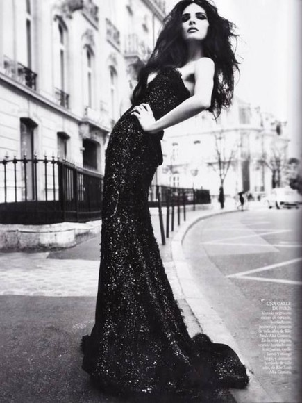 paris black dress sparkly editorial vogue fashion haute couture evening dress ball gown sequin una calle de paris floor length dress