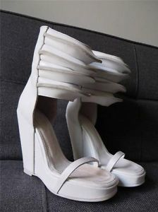 Rick Owens White Leather Rhino Wedge Ribbed Cuff Sandals Heels 37 UK4
