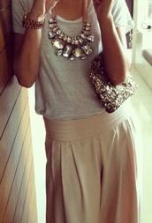 jewels,necklace,jewelry,rhinestones,crystal,statement necklace,skirt,maxi dress,maxi,dress