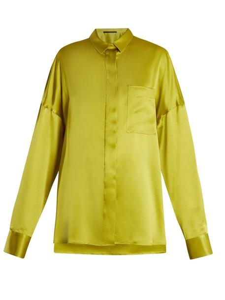 Haider Ackermann blouse oversized silk satin green top
